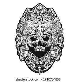 decorated aztec skull. vector illustration