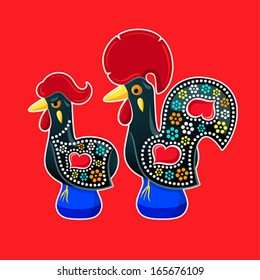Decorated Barcelos rooster and hen - symbols of Portugal