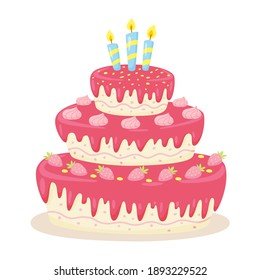 Decorated birthday cake with candles and strawberries. Cute vector illustration isolated on a white background