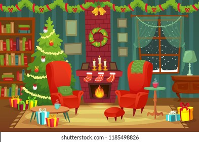 Decorated christmas room. Winter holiday interior decorations, armchair near fireplace and xmas tree with gifts, new year holidays cozy house with flames chimney. 2019 vector background illustration
