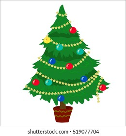 christmas tree cartoon images stock photos vectors shutterstock https www shutterstock com image vector decorated christmas tree cartoon style 519077704