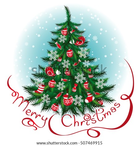 decorated christmas tree new year background greeting card design