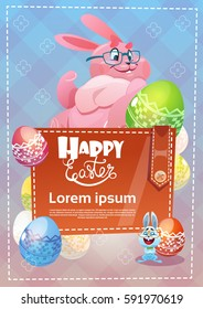 Decorated Colorful Eggs Rabbit Easter Holiday Symbols Greeting Card Vector Illustration