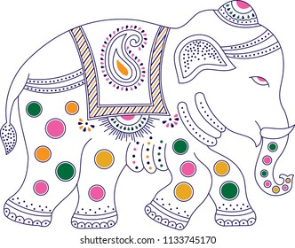 Decorated colorful indian elephant