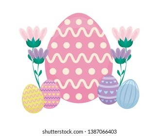 decorated eggs of easter with flowers