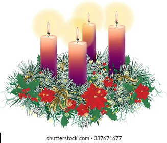 Decorated floral Advent Christmas wreath with four purple candles burning