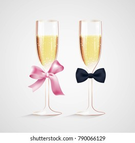 Decorated glasses of champagne. Vector illustration