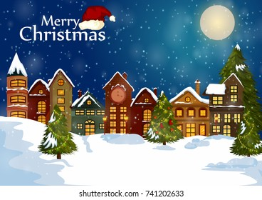 Decorated house on Happy Winter celebration greeting background for Merry Christmas in vector