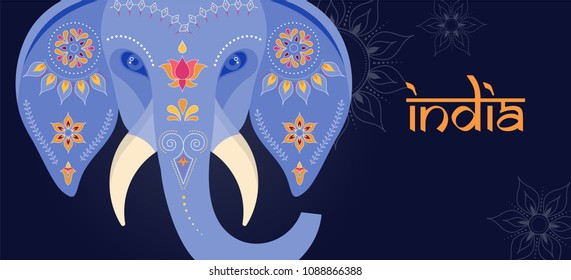 Decorated Indian elephant, festival background, vector illustration