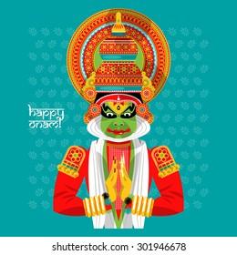 Decorated Indian Kathakali dancer. Happy Onam. Vector illustration