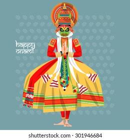 Decorated Indian Kathakali dancer. Happy Onam. Vector illustration.