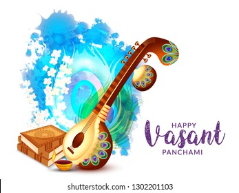 Decorated instrument veena for Happy Vasant Panchami Celebration Background.