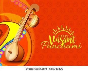 Decorated instrument veena for Happy Vasant Panchami Background.