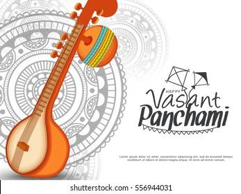 Decorated instrument veena for Happy Vasant Panchami Celebration Background.