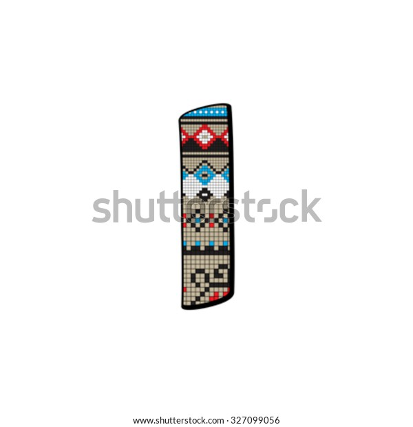 Decorated Original Font Pixel Art Ethnic Abstract Signs