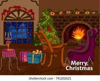 Decorated Pine tree near fireplace for Merry Christmas and Happy New Year in vector
