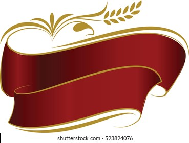 Decorated red ribbons with gold ripe wheat ear.