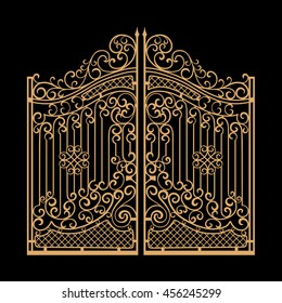 Decorated steel gates vector illustration. Golden on black background