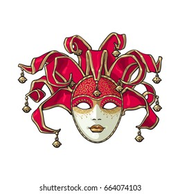 Decorated Venetian carnival, jester mask with bells and golden glitter, sketch style vector illustration isolated on white background.