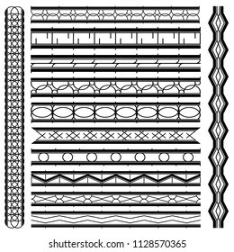 Decoration black and white seamless lines and border elements. Retro monogram style. Element lines for presentation, menu, frame, sticker printable, line divider, line ornament and background.