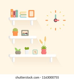 decoration book picture frame flowerpot and clock on wall shelf  pastel color flat vector illustration