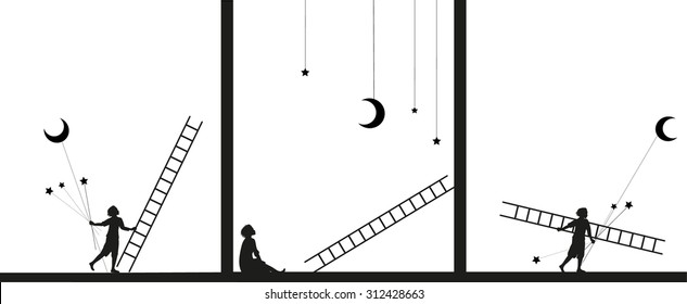 decoration building, work in theater,image story, black and white,  boy fix  the star and moon with ladder, work on the heavens, dream, shadows