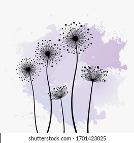 Decoration with dandelions flowers. Vector illustration