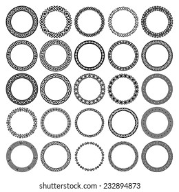 Decoration elements patterns in big pack. Mega set of 25 the most popular round frames. Monochromatic ethnic borders in huge collection. Isolated on white background. Vector illustration