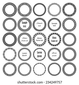 Decoration elements patterns in big pack. Mega set of 25 the most popular round frames with sample text. Monochromatic ethnic borders in collection. Isolated on white background. Vector illustration