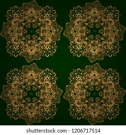 Decoration for fabric, textile, interior. Handmade vector golden elements on green background. Vintage seamless floral pattern.
