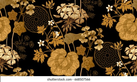 Decoration with flower geranium, pelargonium. Seamless floral pattern. Gold foil foliage, white flowers, black background. Vintage vector illustration. Hand drawing. Template for textile, paper, cloth