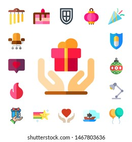decoration icon set. 17 flat decoration icons.  Collection Of - chimes, chair, love, gift, fire, shield, bauble, desk lamp, cake, star, heart, lantern, ship in a bottle, confetti