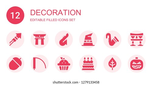 decoration icon set. Collection of 12 filled decoration icons included Fireworks, Torii gate, Saxophone, Witch hat, Acorn, Door, Cupcake, Birthday cake, Leaf, Torii, Pumpkin