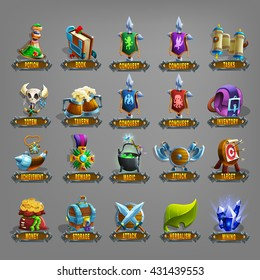 Decoration icons for games. Vector illustration.