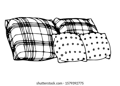 decoration, interior elements sofa cushions made of plaid material for comfort vector illustration with black contour lines isolated on white background in Doodle and hand drawn style