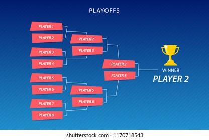 Decoration of playoffs schedule template on blue background. Creative Design Tournament Bracket. Vector Illustration
