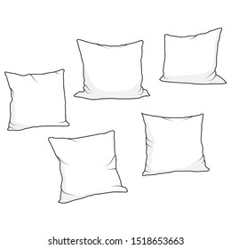 Decoration sketchy set of five pillows isolated on white. Home decor elements