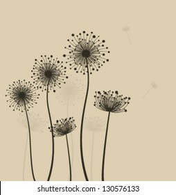 Decoration with  stylized dandelions. Vector
