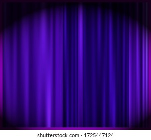 Decoration violet curtain on light background