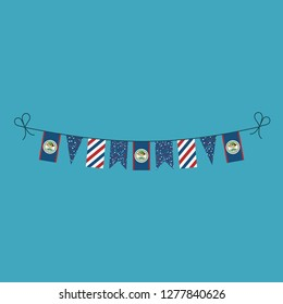 Decorations bunting flags for Belize national day holiday in flat design. Independence day or National day holiday concept.