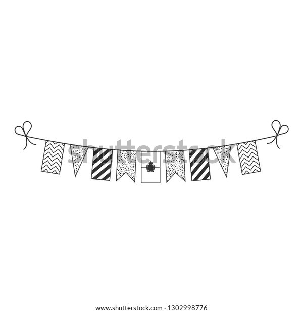 1850f4709560d Decorations bunting flags for San Marino national day holiday in black  outline flat design. Independence