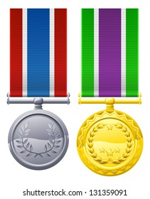 Decorations or medal design elements illustrations, one gold with white, purple and green ribbon, one silver with blue white and red ribbon