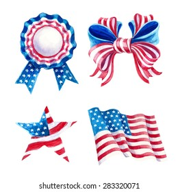 Decorations set independence day.Watercolor drawing.