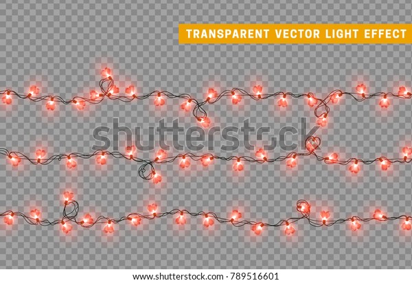 Decorations string garlands, red lights in shape of heart isolated realistic design elements. Vector Led neon lamps