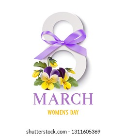 Decorative 8 number with spring flowers and purple bow for Womens day decor. 8 march. Vector illustration