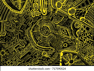 Decorative, abstract, background, psychedelic ethnic style, yellow outline on a black background. Stylish card, graphic design.  Vector hand drawn illustration.
