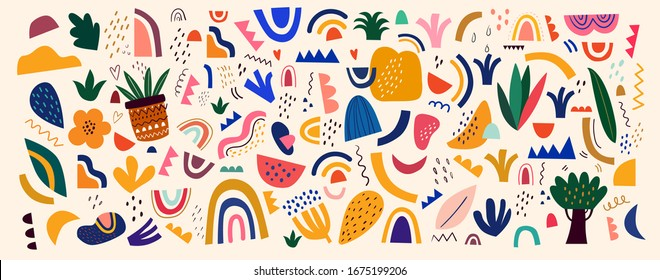 Decorative abstract collection with colorful doodles. Hand-drawn modern collection