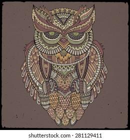 Decorative abstract ornamental Owl head. Vector illustration
