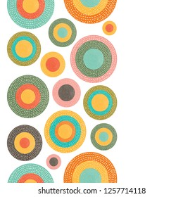 Decorative abstract polka dots in the style of the 60s. Cheerful polka dot vector vertical seamless pattern. Can be used in textile industry, paper, background, scrapbooking.