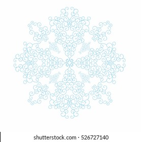 Decorative abstract snowflake. Swirls pattern. Design element. Vector illustration hand drawn.